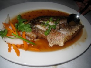 Crispy red snapper in chili lime sauce