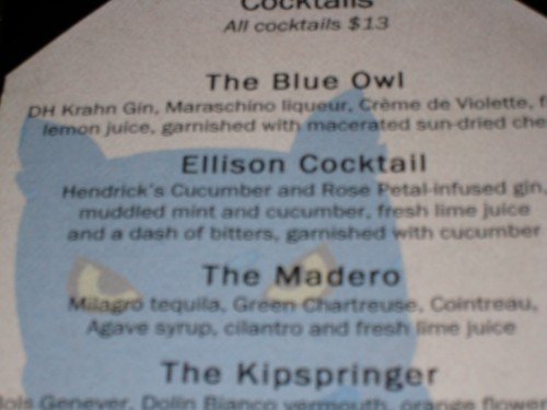 Blue Owl Cocktail List