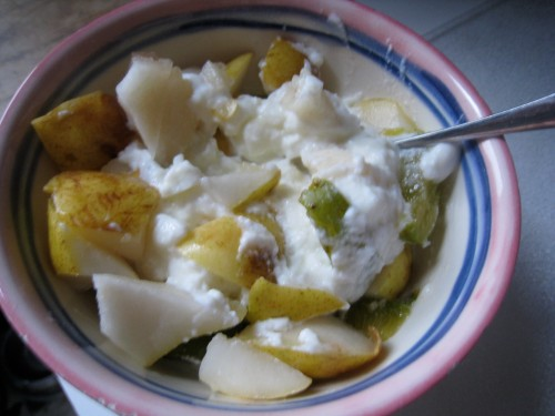 Green Plum, Pear, Nonfat Yogurt
