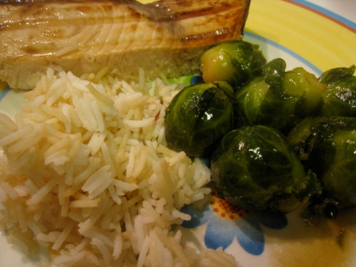 Swordfish, Basmati, Brown Sugar Brussels Sprouts