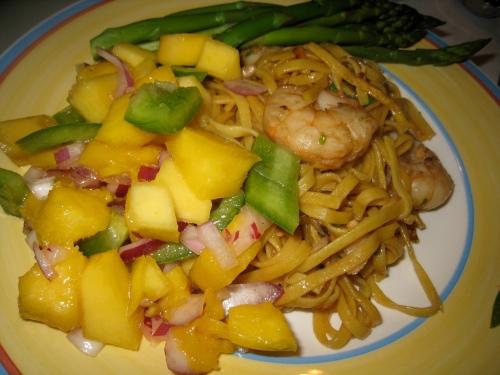 Shrimp Stir fry, mango-chili salad, steamed asparagus