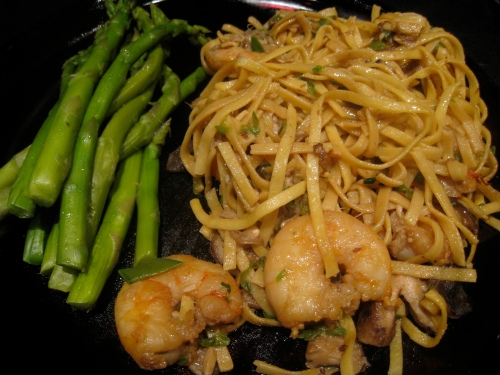 Leftover Asparagus & Shrimp Stir Fry