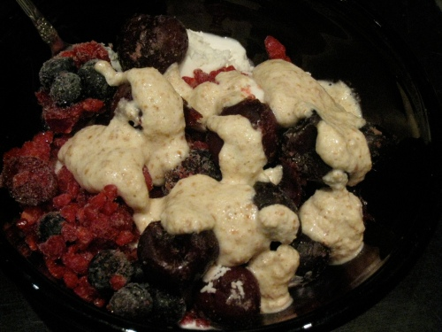 Vanilla Coconut Ice Cream with Frozen Fruit & Almond Milk