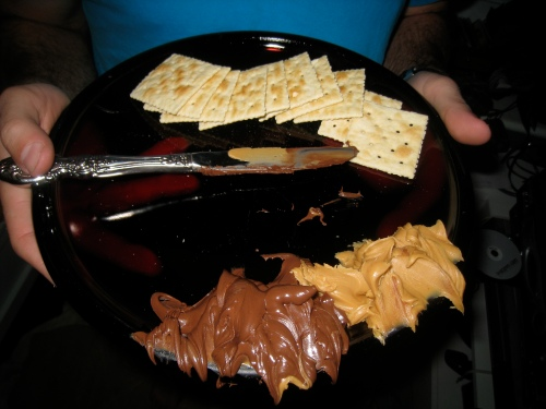 Saltines w/ Nutella & Peanut Butter