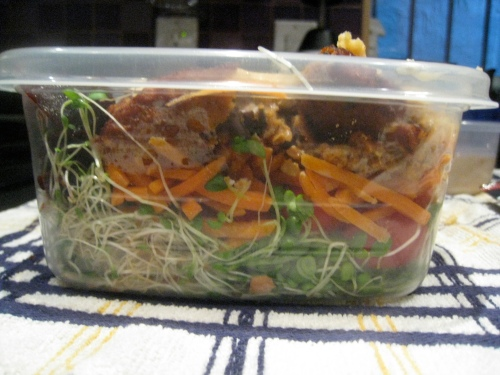 Side view of salad