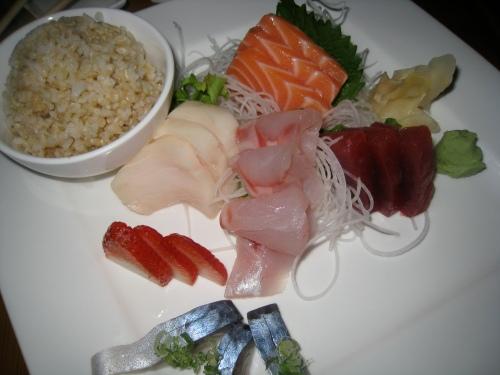 Sashimi with brown rice