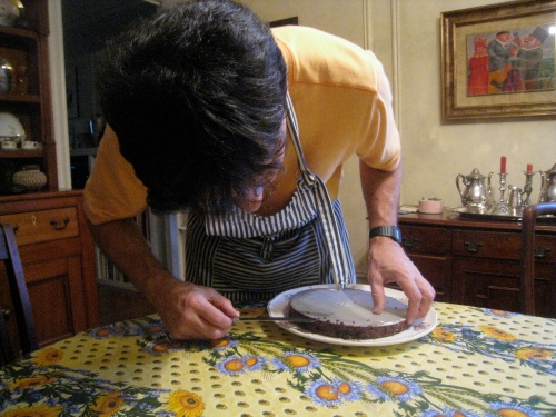 Daddy-O Prepping the Cake