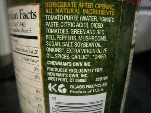 Newman's Own Sockarooni Sauce Nutrition