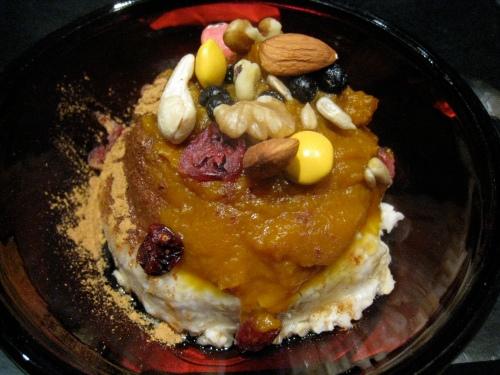 Steel Cut Oatmeal w/ Pumpkin, Trail Mix & Agave