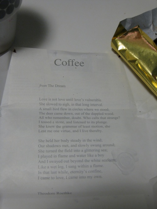 Coffee Crunch Chocolove Poem