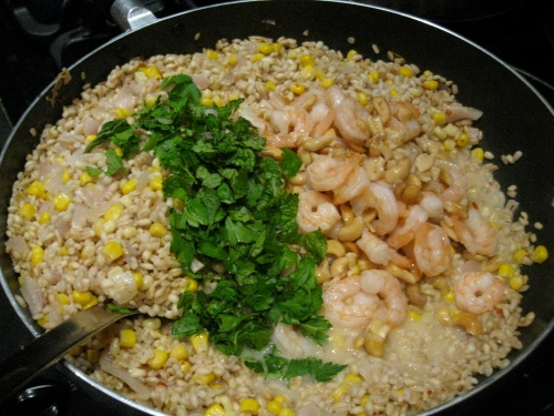 Coconut Barley Pilaf with Shrimp & Corn