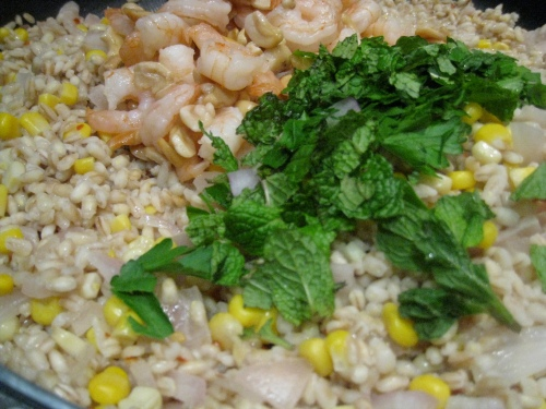 Coconut Barley Pilaf with Shrimp & Corn 2